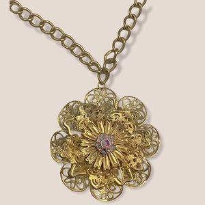 Vintage Filigree Flower Brooch Necklace